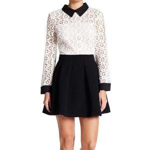 Lace Top Woven Dress Black-White